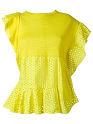 Nude Perforated Ruffle Top Yellow And Orange
