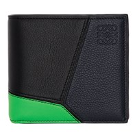 Loewe Navy And Green Puzzle Bifold Coin Wallet