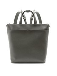 Valextra Grained Leather Backpack Grey