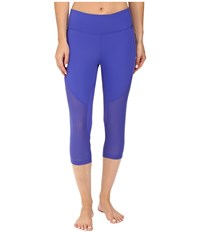 Zobha Fitted Capris With Contrast Mesh Royal Blue Women's Capri