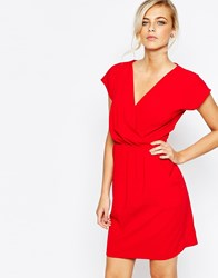 Closet 2 In 1 Wrap Front Pleated Pencil Dress Red