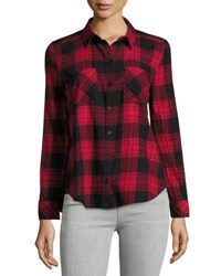 Beachlunchlounge Tammy Plaid Peplum Blouse Red