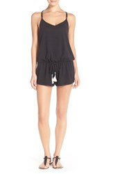 Women's Lucky Brand 'Fly Away' Romper Cover Up Black