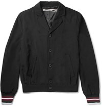 Mcq By Alexander Mcqueen Slim Fit Stripe Trimmed Satin Shell Blouson Jacket Black