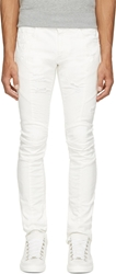 Balmain White Distressed And Ribbed Biker Jeans