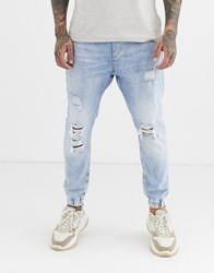 Bershka Denim Joggers In Blue