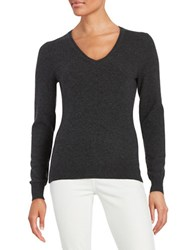 Lord And Taylor V Neck Cashmere Sweater Charcoal Heather