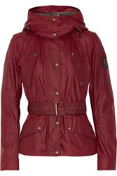 Belstaff Trackmaster Belted Cotton Shell Hooded Jacket Red