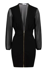 Plunge Zip Front Mini Dress By Rare Black