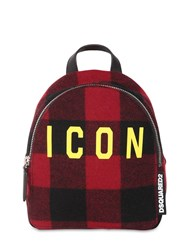 Dsquared Icon Mini Checked Wool Backpack Red