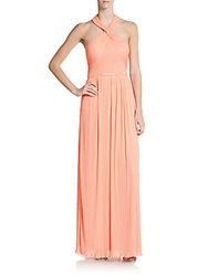 Js Boutique Embellished Fortuny Pleated Halter Gown