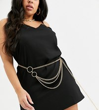 Asos Design Curve Chain Waist And Hip Belt In Gold