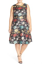 Plus Size Women's Tahari Floral Jacquard Sleeveless Fit And Flare Dress