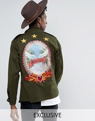 Reclaimed Vintage Surplus X Romeo And Juliet Military Jacket With Back Details Khaki Green