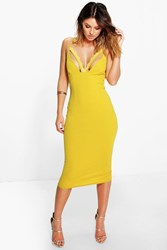 Boohoo Lace Trim Bust Midi Dress Chartreuse