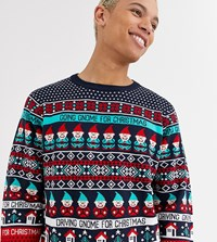 Threadbare Tall Christmas Novelty Gnome Jumper In Red