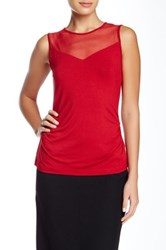 Anne Klein Mesh Yoke Tank Red