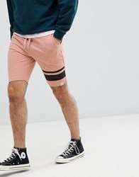 Only And Sons Jersey Shorts With Leg Stripe Misty Rose Pink