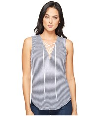Splendid Taft Point Mini Stripe Lace Up Tank White Women's Sleeveless