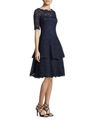 Rickie Freeman For Teri Jon Floral Lace Tiered Dress