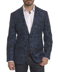 Robert Graham Porthgain Camouflage Wool Cashmere Jacket Blue