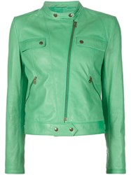 Tomas Maier Band Collar Biker Jacket Green