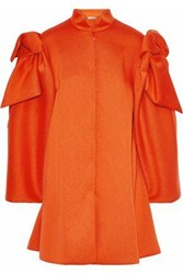 Delpozo Bow Embellished Neoprene Coat Bright Orange