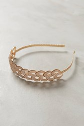 Anthropologie Double Leaf Gold Headband