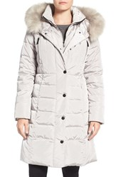 1 Madison Women's Faux Fur Trim Hooded Down And Feather Fill Long Coat Dove Grey