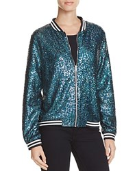 Aqua Sequin Bomber Jacket Green