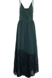 By Malene Birger Lace Paneled Pleated Georgette Maxi Dress Emerald