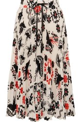 Red Valentino Redvalentino Pleated Printed Crepe Midi Skirt White