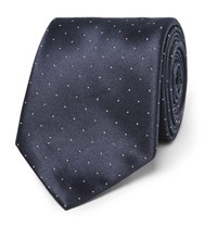 Brioni 8.5Cm Polka Dot Silk And Cotton Blend Tie Blue