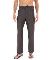 Perry Ellis Drawstring Linen Pants Slate Men's Casual Pants Metallic