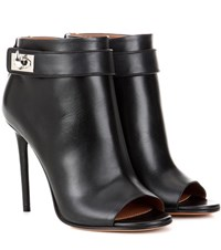 Givenchy Shark Leather Peep Toe Ankle Boots Black