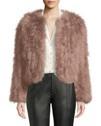 Lamarque Deora Turkey Feather Bomber Jacket Light Pink