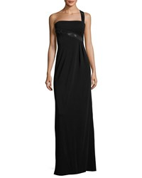 Armani Collezioni Sequined One Shoulder Jersey Gown Black