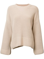 Elizabeth And James Ribbed Detail Jumper Nude Neutrals