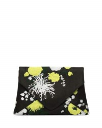 Dries Van Noten Embroidered Twill Envelope Clutch Bag Yellow