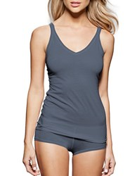 Fine Lines Pure Cotton Thin Strap V Neck Camisole Denim