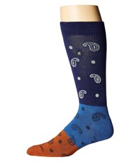 Richer Poorer Midnight Paisley Performance Reflective Navy Blue Men's Crew Cut Socks Shoes Multi
