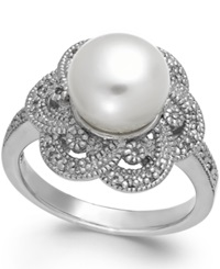 Macy's Cultured Freshwater Pearl 9Mm And Diamond 1 10 Ct. T.W. Flower Ring In Sterling Silver