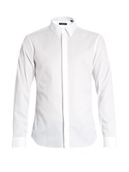 Calvin Klein Single Cuff Point Collar Cotton Shirt White