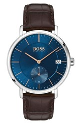 Boss Leather Strap Watch 40Mm Blue Brown