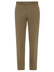 Dunhill Slim Leg Cotton And Cashmere Blend Chino Trousers Khaki