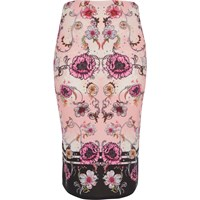 River Island Pink Floral Print Pencil Skirt