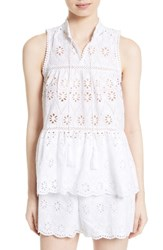 Kate Spade Women's New York Eyelet Embroidered Tiered Top White