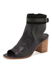 Vince Jane Leather Peep Toe Bootie Black