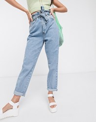 New Look Paperbag Tie Waist Jean In Light Blue
