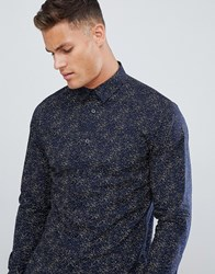 Selected Homme Smart Shirt In Slim Fit All Over Print Dark Sapphire Navy